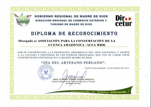 Diploma de reconocimiento -DIRCETUR